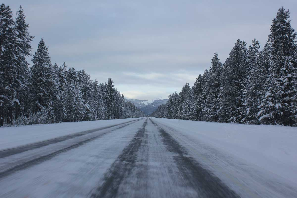 Boise to Sun Valley road in Winter