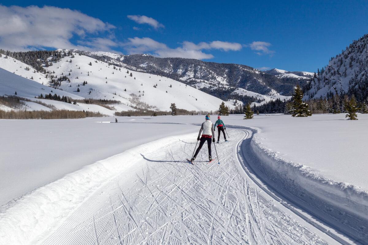 women cross country skiing in Sun Valley, Idaho