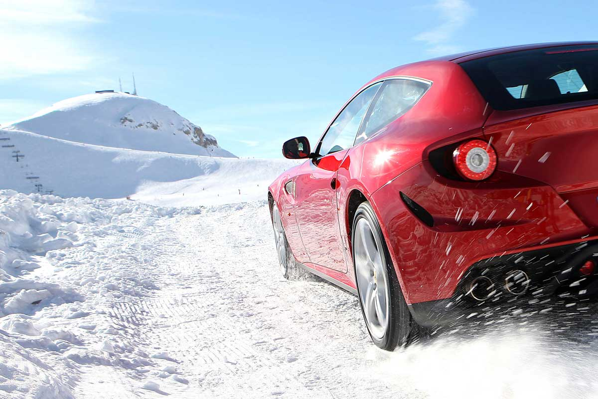 sports car on snowy road