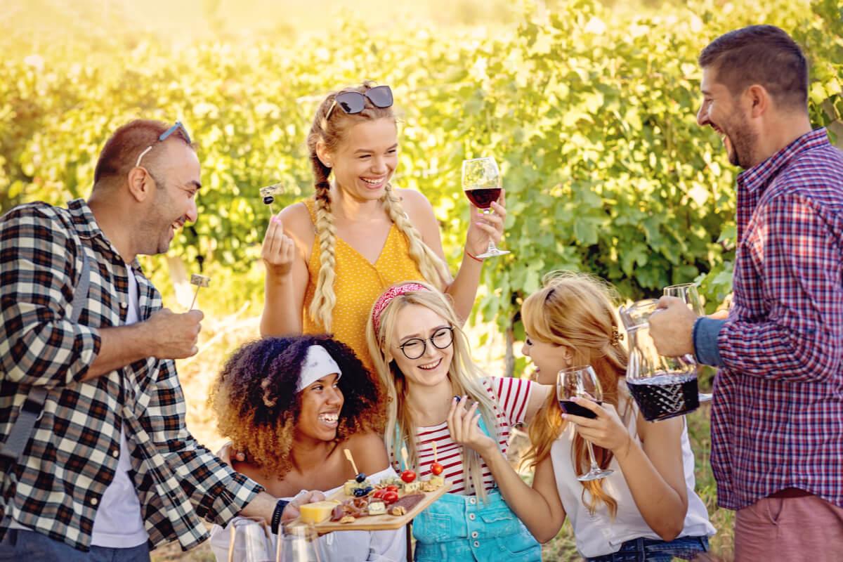 Smiling friends tasting wine in vineyard