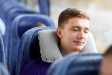 Napping on a charter bus