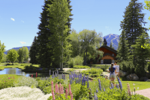 Artist working on a painting in Sun Valley, Idaho at the Sun Valley Lodge